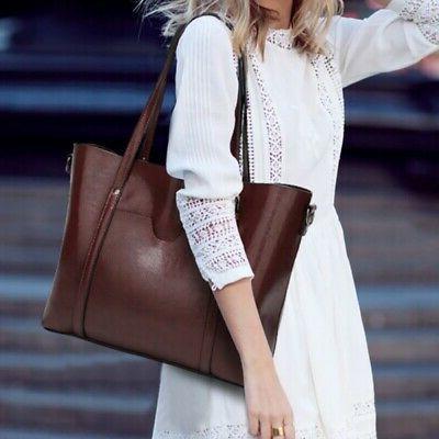 Genuine-Leather Tote Handbag Crossbody Shoulder Messenger Ba
