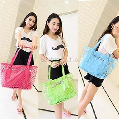 US Transparent Bag Clear Handbag Jelly Purse PVC Tote Bag
