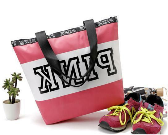 Victoria Pink Collection Style zip Tote Bag- school, weekend Beach