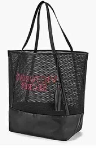 victoria secret tote bag handbag black mesh