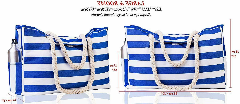 Waterproof Beach Bags Tote Stripes Blue