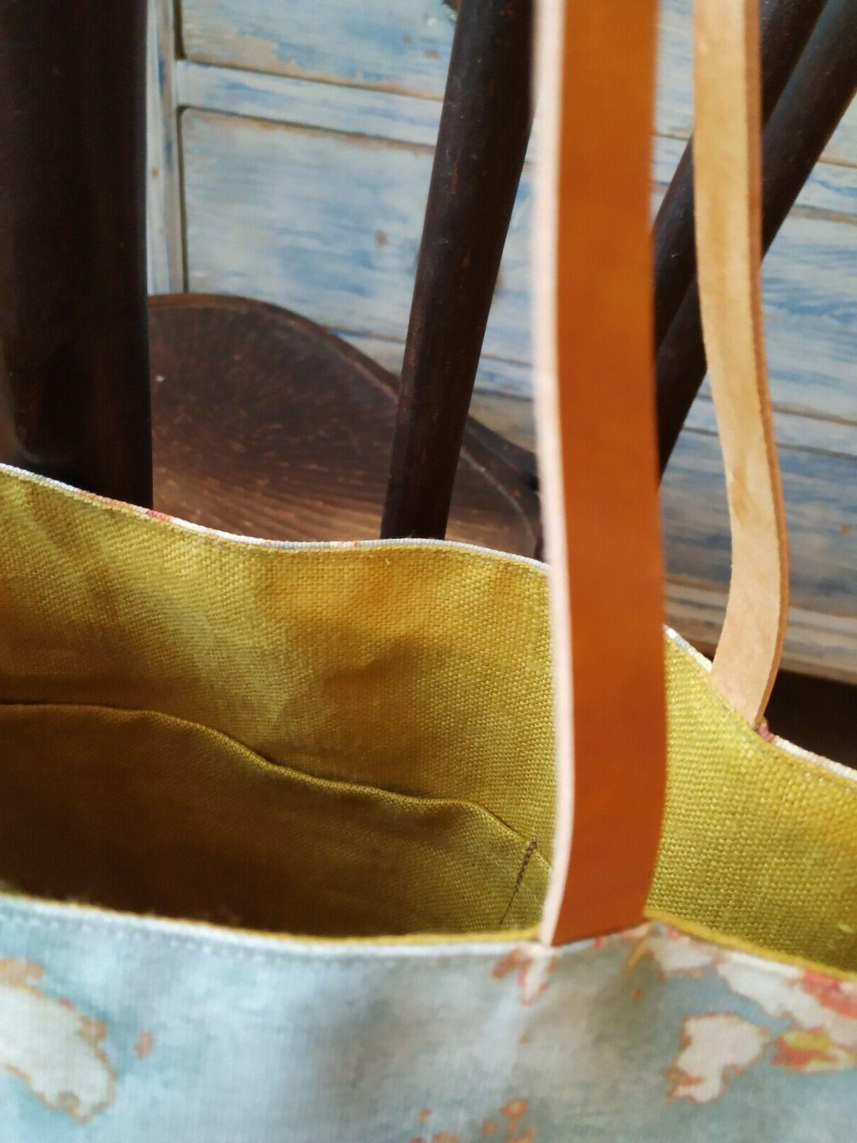 Waxed Cotton Bag with leather