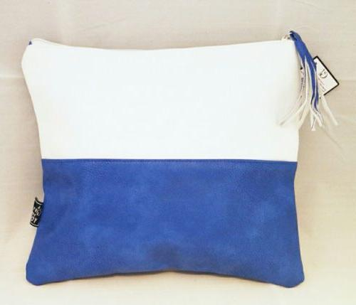 White Blue Tote Set Large Faux Leather Beach