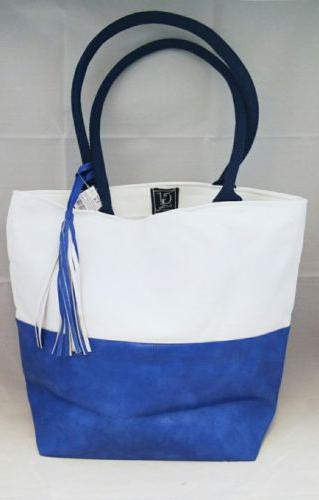 White Tote Set Faux Cotton Travel 16.5x14""