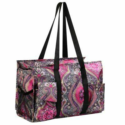 Wireframe Shopping Travel Tote Bag Purple Paisley