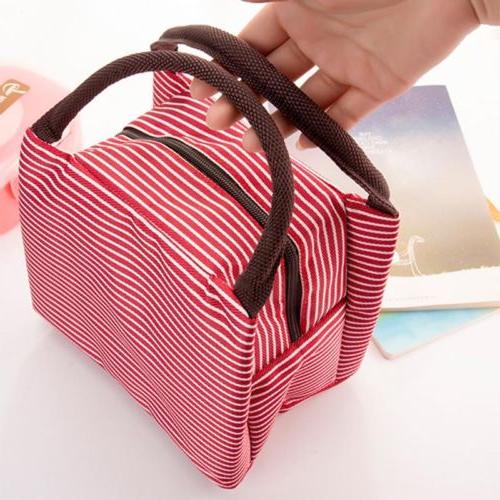 Women Canvas Thermal Tote Lunch Box Bag Handbag School US