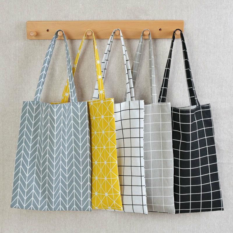 women casual plaid linen cotton canvas shopping