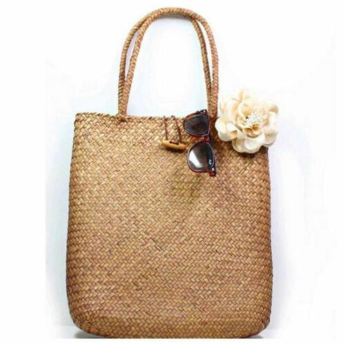 Women Casual Straw Bag Summer Beach Woven Bag Shoulder Bag T