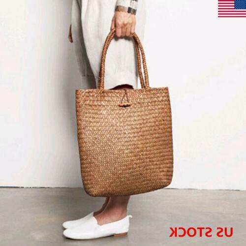 women casual straw bag summer beach woven
