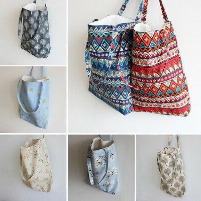 women cotton linen shoulder shopping bag tote