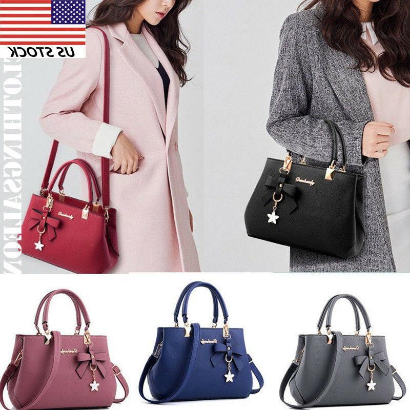 Women Handbag Bow Leather Briefcase Shoulder Bags Tote Ladie