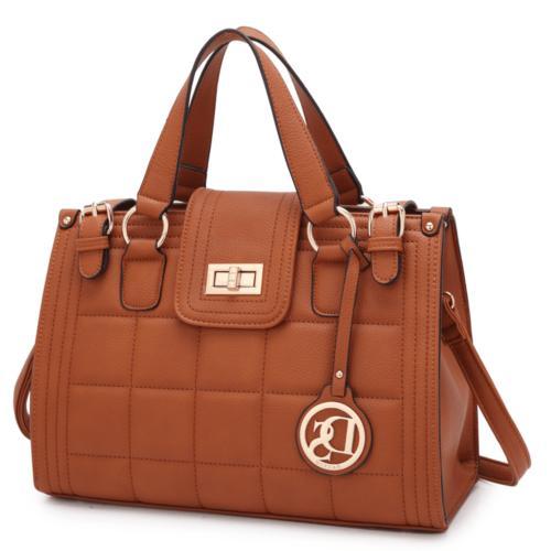 Dasein Women Handbag Faux Leather Satchel Bags Tote Bag Medi