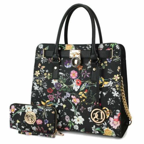 Dasein Women Faux Leather Handbag Set Shoulder Purse Work Ba