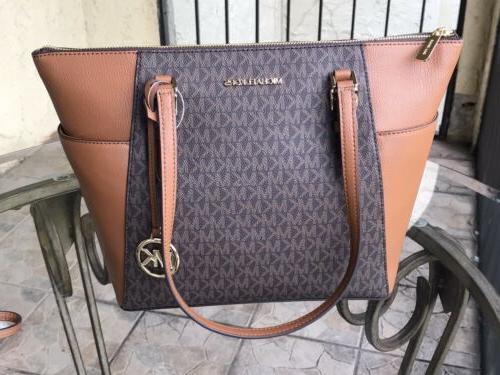 Michael Fashion Leather Shoulder Bag Handbag Brown MK