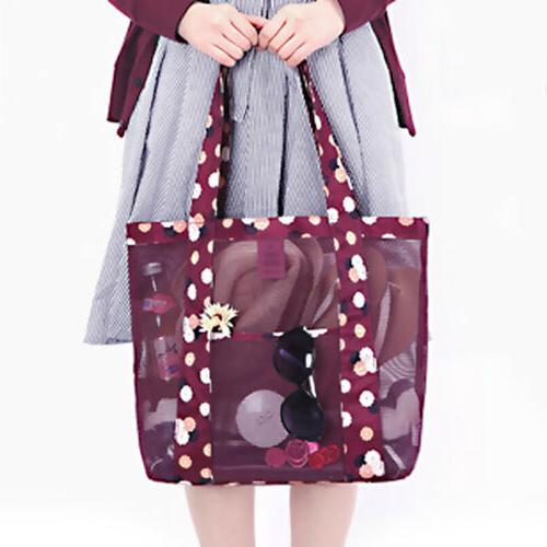 Women Shopping Mesh Bags Handbag Beach Large Clear Bag US