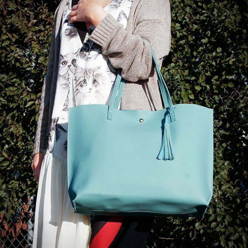 Oct17 Women Large Tote Bag - Tassels Faux Leather Shoulder Handbags,