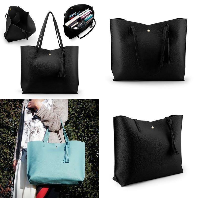women large tote bag tassels faux leather