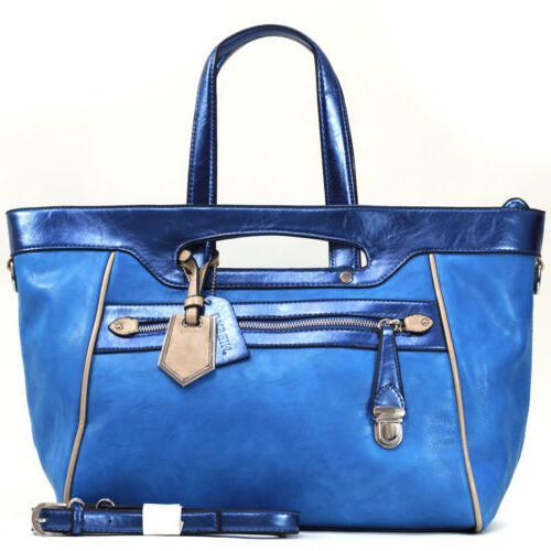women leather tote bag satchel handbag metallic