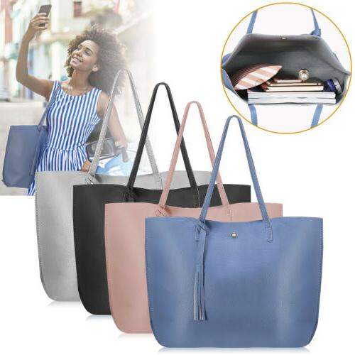 women pu leather handbag shoulder ladies purse