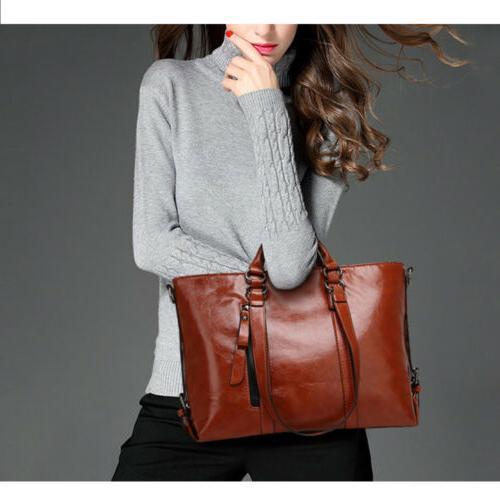 Women Soft Oiled Handbag Messenger Shoulder Tote Bag Crossbody Satchel