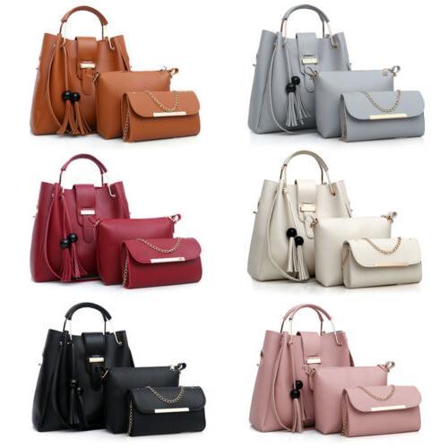 Women's Pu Leather Purse Handbags Set Shoulder Bag