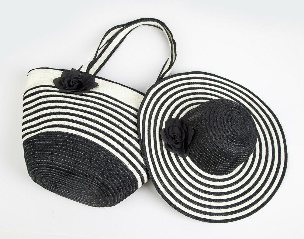 Women's Summer Floppy Paper Straw Sun Hat and Beach Tote Bag
