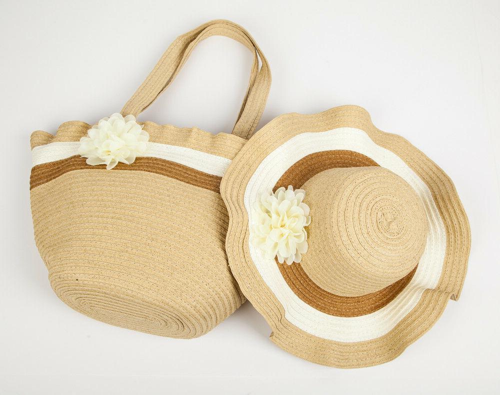 Women's Straw Hat Beach Bag Set &