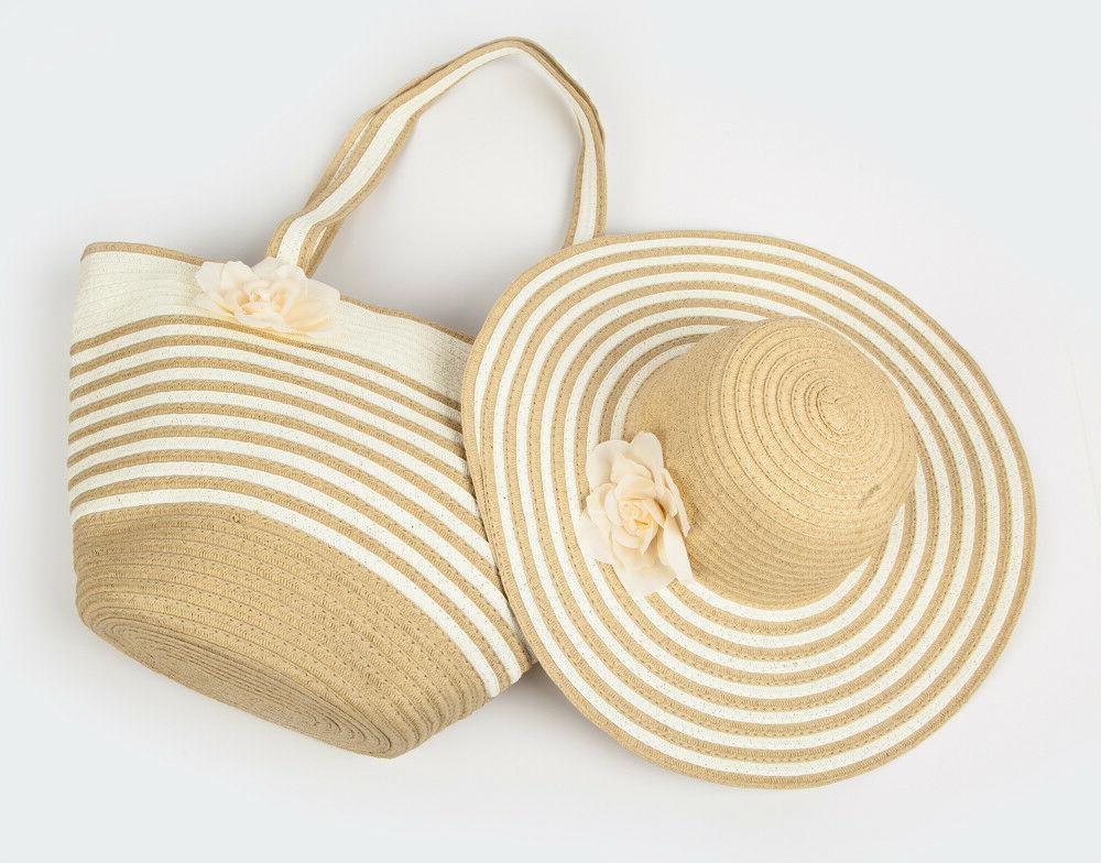 Women's Straw Beach Tote Bag &