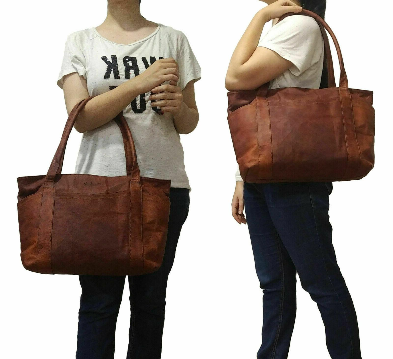 Women's Vintage Brown Leather Shoulder Tote Handbag Purse Sa
