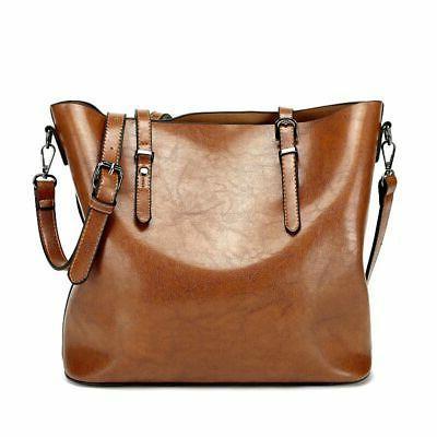 Women Oiled Handbag Shoulder Tote Bag