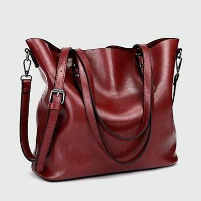 Women Soft Oiled Handbag Shoulder Bag Crossbody