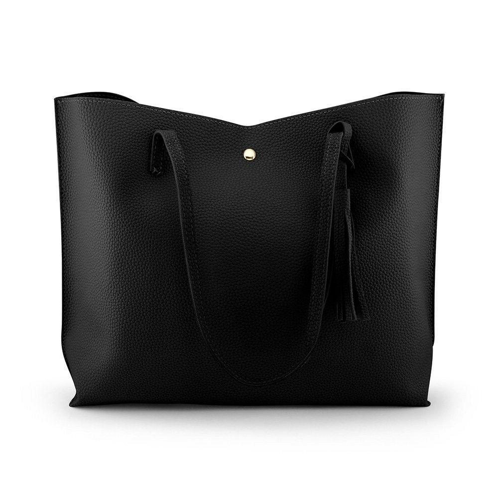 women tote bag tassels leather shoulder handbag