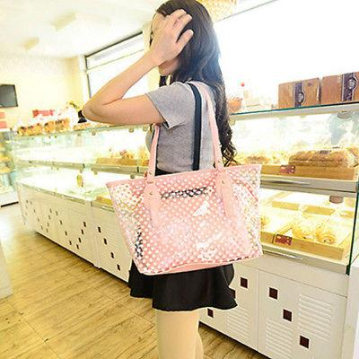 Women Transparent Shoulder Clear Jelly PVC Beach Tote