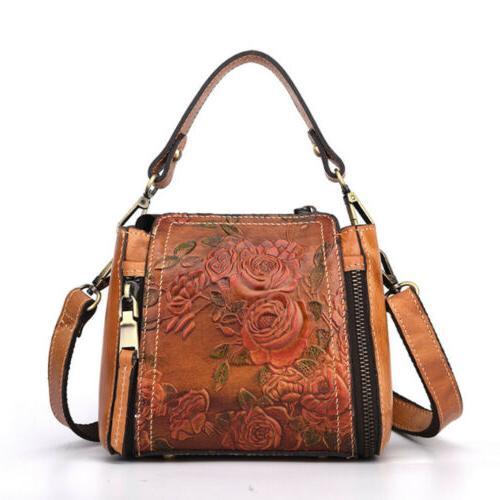 women vintage floral leather tote bag handbag
