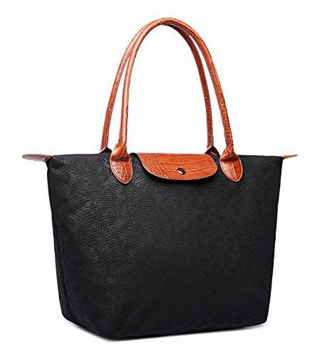 Crest Design Women's Stylish Waterproof Nylon Tote Handbag Travel Beach with