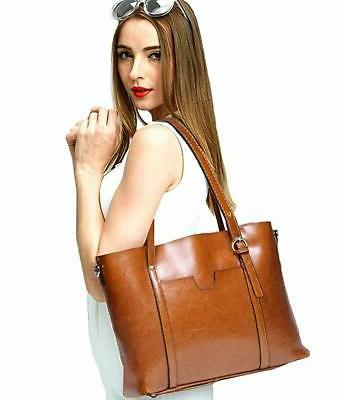 YALUXE Leather Tote Women's Shoulder Vintage Style Work Large