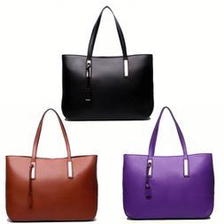 Ladies PU Leather Handbag Large Shoulder Tote Bag Large Lapt