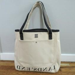 """Land's End Ivory & Navy Canvas Tote Bag 15"""" x 15"""" NEW Heavy"""