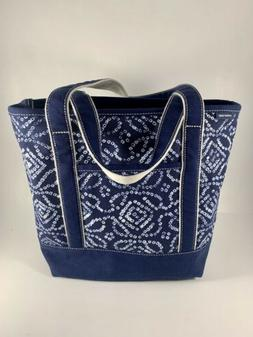 Lands End Zipper Closure Blue And White Print tote bag. NEW!