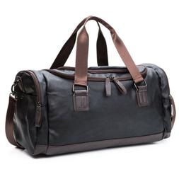 Large Black Leather Men Luggage Travel Shoulder Duffle Bags