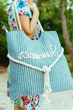 Large Canvas Shoulder Tote Beach Bag With Cotton Rope Handle