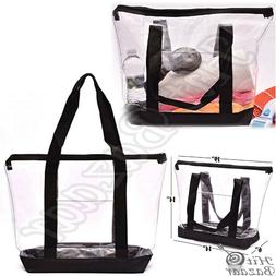 large clear bag tote strong zippered closure