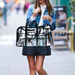 Large Clear Transparent Tote Bag PVC Heavy Duty Makeup Messa
