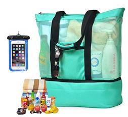 Large Mesh Beach Bag with Zipper & Pockets - XL Canvas Botto