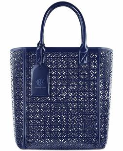 Tory Burch Large Navy Blue Lace Perforated Patent Tote Bag N