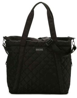 Steve Madden LARGE QUILTED BLACK TOTE Bag Travel Work Laptop