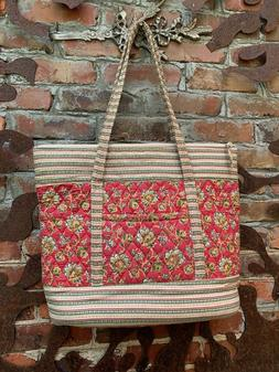 Large Quilted Tote Bag Red Floral Cotton Shopper Carry On Ba