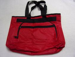Large Red/Black Polyester Foldable Tote Bag New