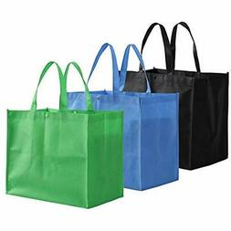 Large Reusable Handle Grocery Tote Bag Shopping Bags - 12 Pa