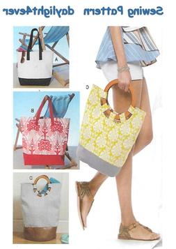 Large Tote Purse Bag 4 Sizes Sewing Pattern McCall's 7611